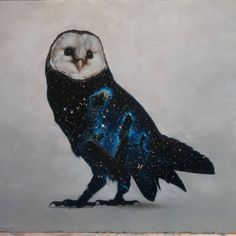 """Realistic watercolor painted Galaxy Owl with universe night sky constellations on feathers By @afjelnseth  _ Also check out our 2nd art featuring page @artshelp  _ Via @richburnsred_art"""""""