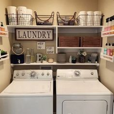 It's live! {swipe for the before} My small space laundry room/closet makeover video is up on my channel! Rustic Laundry Rooms, Small Laundry Rooms, Laundry Room Organization, Laundry Room Design, Laundry In Bathroom, Laundry Decor, Organization Ideas, Laundry Room Shelving, Laundry Storage