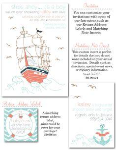 nautical baby shower, nautical shower invites, nautical baby shower invites, anchor invitations, ships ahoy, chevron, vintage baby shower invites via party box design