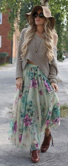Gray Floppy Hat, Gray Crop Sweater, Floral Maxi Skirt | Edgy Boho | Annawii