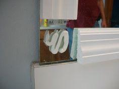 glue on mirror corner Diy Mirror Frame Bathroom, Mirror Clips, New Bathroom Ideas, Bathroom Kids, Bathroom Renos, Bathroom Updates, Mirror Mirror, Master Bathroom, Crafts