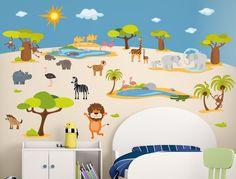 Vintage I love Wandtattoo WAS Wandsticker Kinderzimmer Safari Sticker Aufkleber Wandtattoo