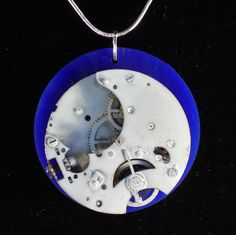 Pendant made from blue Perspex and parts from an old pocket watch,  $30. Old Pocket Watches, Western Australia, Artisan, Store, Pendant, Blue, Design, Larger, Hang Tags