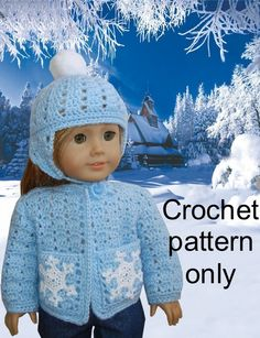 Crochet pattern (PDF) for 18 inch child doll American Girl - snowflake sweater and pompom hat #pompomhat #CrochetHat