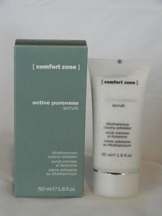 Active Pureness Scrub by Comfort Zone. $22.00. 50 ML size. Made with Propolis and Lithothamnion algae. Gives the face a bright and smooth aspect. Soft skin exfoliation and remineralization. Imported from Parma, Italy. Soft exfoliator with micro-particles of lithothamnion algae, propolis and natural extracts, for a double renewing and remineralizing action.