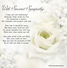 With Sincerest Sympathy – I hope you will