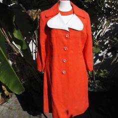 Vintage Simon Howard Dress Coat Set Orange White & matching buttons