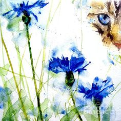 Cat In The Cornflowers Painting by Paul Lovering - Cat In The Cornflowers Fine Art Prints and Posters for Sale