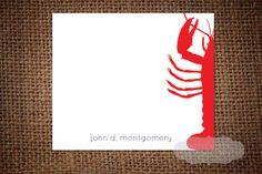 Lobster Stationery Card by DivineMrsEmDesigns on Etsy, $15.00
