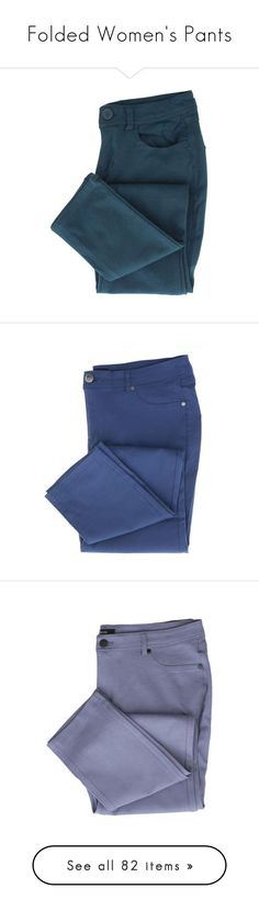 """Folded Women's Pants"" by scarletj17 ❤ liked on Polyvore featuring denim, jeans, Womens, pants, blue trousers, five pocket pants, 5 pocket pants, blue pants, ponte trousers and blue slim fit pants"