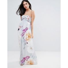 Little Misress Bandeau Maxi Dress In Floral Print ($66) ❤ liked on Polyvore featuring dresses, multi, chiffon dress, tall dresses, floral print chiffon dress, floral wrap dress and wrap dresses