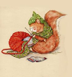 Knitting Squirrel http://images.fineartamerica.com/images-medium-large/1-knitting-squirrel-peggy-wilson.jpg