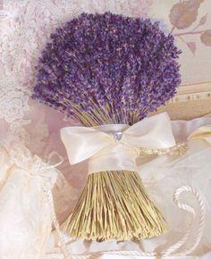 Super Lush Bridal Bouquet Of Lovely Lavender.I Bet This Bouquet Must Smell Heavenly! Lavender Bouquet, Lavender Flowers, Bridal Flowers, Flower Bouquet Wedding, Lavender Fields, Herb Bouquet, Ribbon Bouquet, Bouquet Toss, Boquet