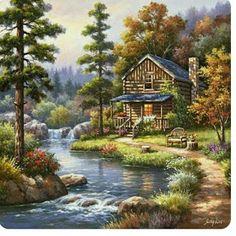 Woodland scene art on tile-Mountain Creek Cabin-Tile Mural - barbara Beautiful Paintings, Beautiful Landscapes, Landscape Art, Landscape Paintings, Belle Image Nature, Scenery Paintings, Tile Murals, Mural Art, Thomas Kinkade