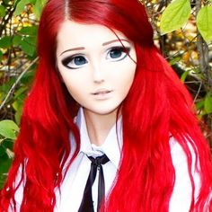 "Anastasiya Shpagina..(Animee _ Ukraine,,Anastasiya though favors transforming herself into an anime character and ""never leaves the house without makeup."" She's a makeup and hair artist so it's probably not too much of a stretch for her to create this unreal look"