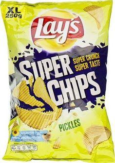 LAY'S Superchips au pickles 250gr LAY'S Super Chips pickles, chips taillés dans les meilleures pommes de terre et cuits dans l'huile végétale. Ils sont un peu plus épais Découvrez sur notre site www.chockies.net
