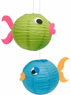 Make fish decorations out of paper lanterns for an under the sea theme party! Under The Sea Theme, Under The Sea Party, Little Mermaid Parties, Paper Lanterns, Fish Lanterns, Chinese Lanterns, Solar Lanterns, Hanging Lanterns, Luau Party