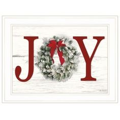 """Trendy Decor Ready to Hang Framed Print White Frame 21 In. x 15 In. Christmas Joy by Lori Deiter at Lowe's. """"Christmas Joy"""" by artisan Lori Deiter. This decorative white framed Christmas print of JOY! A beautiful Christmas wreath; Christmas Garden, Christmas Wall Art, Christmas Fireplace, Christmas Frames, Christmas Crafts For Gifts, Farmhouse Christmas Decor, Christmas Store, Christmas Signs, Christmas Fun"""