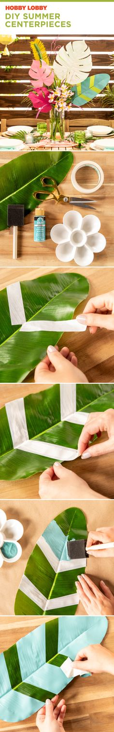 Try this DIY summer centerpiece. Your table will thank you. Leaf Projects, Diy Projects Videos, Diy Ideas, Party Ideas, Craft Ideas, Easy Crafts, Arts And Crafts, Summer Centerpieces, Luau Party