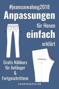 Sewing Jeans Part Fit Changes for Pants Nähtalen .- Pattern adjustments for pants and jeans. In Jeans Sew Along we present all the changes that show you how to sew a well-fitting pair of jeans yourself. Sewing Hacks, Sewing Tutorials, Sewing Tips, Sewing Jeans, Fat Quarter Projects, Diy Mode, Susa, Leftover Fabric, Love Sewing