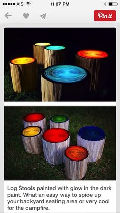 Some old logs + different colors of glow-in-the-dark paint = garden magic.