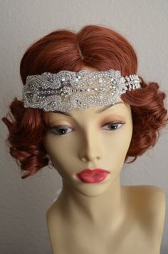 Art deco headpiece, Headband, made with Swarovski rhinestones, crystals, glass beading and rhinestone band. One of a KIND