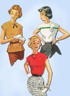 1950s Vintage Misses Blouse Uncut 1953 Simplicity Sewing Pattern 4434 Size 12