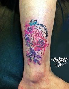 Dreamcatcher rose watercolor tattoo