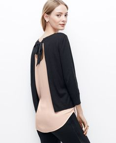 Two-in-One Open Bow Back Sweater | Ann Taylor (I own this.)