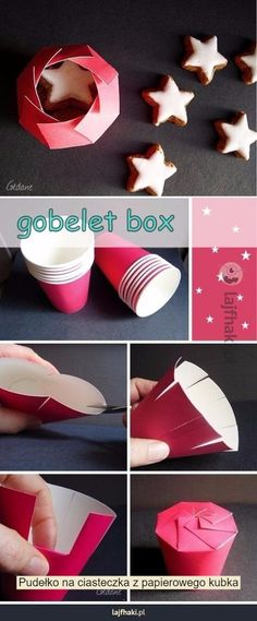 Pudełko na ciasteczka - Pudełko na ciasteczka z papierowego kubka