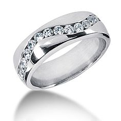 Platinum Diamond Mens Wedding Ring