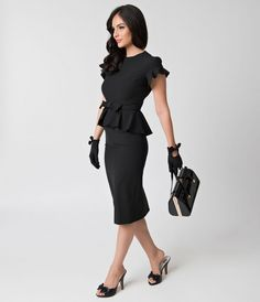 Stop Staring! 1940s Style Black Peplum Cap Sleeve Willow Wiggle Dress