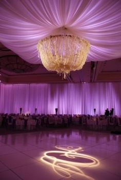 gorgeous floral chandelier and drapery - not a fan of the lighting