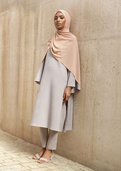 INAYAH | Elegance and style combined - Dove Grey #Kimono #Midi + Dove Grey Straight Leg #Trousers + Coral Sunset Soft Crepe #Hijab - www.inayah.co