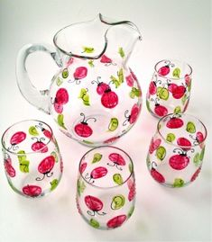 """Lucky Ladybugs"" Stemless Wine Glass by Leslie (Hula Island)"