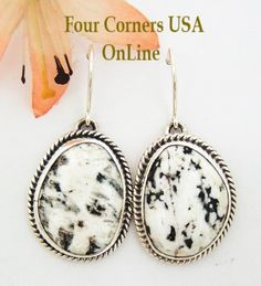 White Buffalo Turquoise Stone Sterling Earrings Four Corners USA Online Native American Navajo Jewelry NAER-1459, $155.00 (http://stores.fourcornersusaonline.com/white-buffalo-turquoise-stone-sterling-earrings-by-native-american-navajo-artisan-bobby-piaso-naer-1459/)