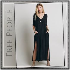 """✨Free People Sophie Dress✨ ✨Free People Sophie Dress In Night Shadow (Black) Is An Awesome Versatile Ultra Comfortable Chic Or Even Grungy Dress✨Wear It Belted Or Even As A Maternity Dress✨Flowing Flattering Dress With Pin Tuck Pleats Down A V-Neck Bodice✨Deep Side Vents At The Hem✨Raw Edge 3/4 Length Sleeves✨100 Percent Cotton✨Approx. 48"""" In Length✨NWT✨Size Small✨ Free People Dresses Maxi"""