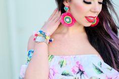 florals, panacea earrings and BaubleBar tassel bracelets