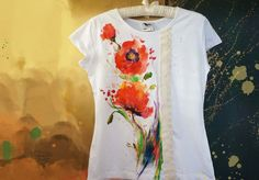 Tricou pictat cu maci. Se poate reface pe orice mărime.  #poppies #tshirt Short Sleeve Dresses, Dresses With Sleeves, Poppies, Paintings, T Shirt, Color, Fashion, Embroidery, Supreme T Shirt