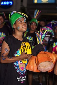 Teen boys in Cape Carnival parade, Fanfare street in GreenPoint,  Cape Town…