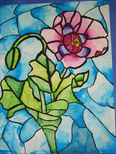 """4th grade watercolor 18"""" X 24""""  Stained glass window style art   Art teacher: Susan Joe"""