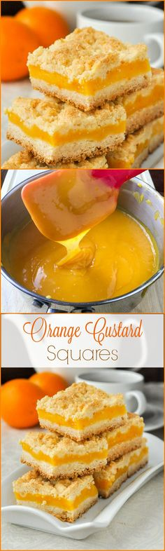Orange Custard Squares - an old fashioned favourite cookie bar made with a rich orange custard filling between 2 layers of shortbread crumble.