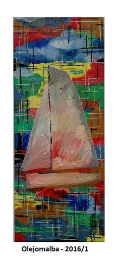 Plachetnice - olej na plátně 50x20cm, 2016/1