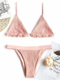 3815fcfff Up to 80% OFF! Ruffles Bralette Smocked Bikini Set.  Zaful  Swimwear