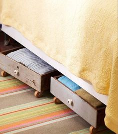•❈• Dishfunctional Designs: Fresh Ideas For Repurposing Dressers   Drawers as under the bed storage.