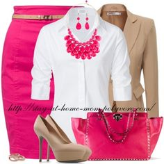 Pink, White and Beige | Blazer, Skirt and Heels | Necklace and Earrings