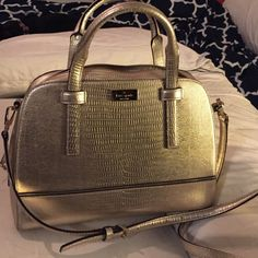 "Gold Kate spade bag Lightly used structured bag with handles and cross body strap. 12"" long, 8"" tall kate spade Bags Satchels"