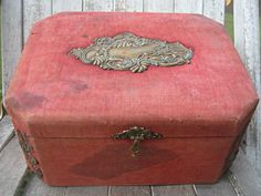Antique red velvet jewelry box.