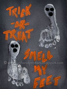 Kids Halloween Craft: Footprint Ghosts that glow-in-the-dark... Get a picture frame some pair an a poster board and make it into picture to hang up! Make a spider and many others! So excited!