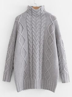 SheIn offers Cable Knit Oversized Jumper Sweater & more to fit your fashionable needs. Cable Knit Sweaters, Pullover Sweaters, Oversized Grey Sweater, Gray Sweater, Pullover Designs, Sweater Shop, Knitting Designs, Knit Patterns, Knitwear